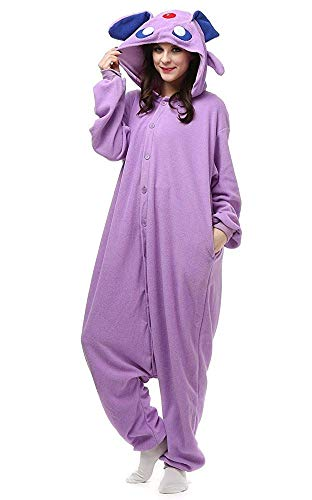 Women's Sleepwear Unisex Espeon Costumes Adult and Teens Cosplay One-Piece Pajamas Christmas (Small,Purple) ()