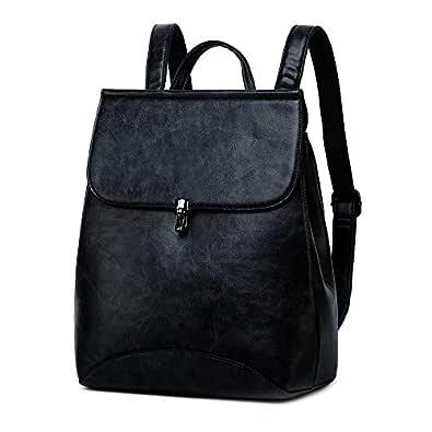 WINK KANGAROO Fashion Shoulder Bag Rucksack PU Leather Women Girls Ladies Backpack Travel bag Black Size: Medium