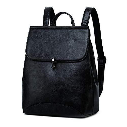 WINK KANGAROO Fashion Shoulder Bag Rucksack PU Leather Women Girls Ladies Backpack Travel bag (black 2)