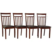 Dining Kitchen Side Chairs Set of 4 Warm Solid Wood Dark Walnut Finish Padded Seat
