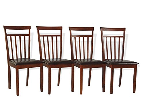 Warm Dining Room Kitchen Natural Solid Wood Chairs Dark Walnut Finish Set of 4
