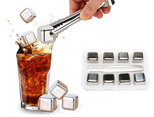 Edofiy Whiskey Stones-Set of 8 Stainless Steel Chilling Reusable Ice Cubes for vodka liqueurs white wine With Freezing Storage Tray and Tongs by Edofiy