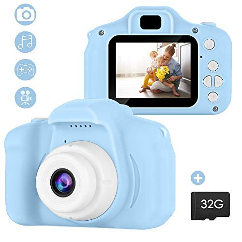 SOONHUA Kid Camera, Mini Digital Photo&Video Toy Camera, Gift for 4 5 6 7 8 Year Old Girls Boys, 2 Inch HD Screen 12MP Child Camcorder with Soft Silicone Shell (32G SD Card Included) (Blue)