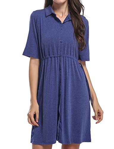 Hibelle Fit and Flare Dress For Women, Ladies Shirt Collared Flattering Stretchy Soft Drawstring Belted Tunic Knee Length With Sleeves Knitted Retro Lightweight Outfits Royal Blue (Belted Spandex Tunic)