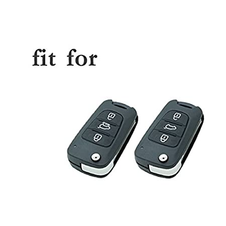 SEGADEN Silicone Cover Protector Case Skin Jacket fit for HYUNDAI KIA 3 Button Flip Remote Key Fob CV9100 White