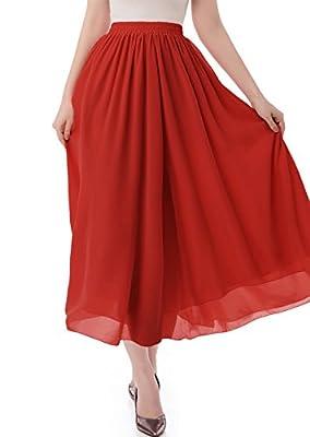 malishow Women's Long Chiffon Skirt Pleated Retro Beach Skirts A-Line Maxi Dress