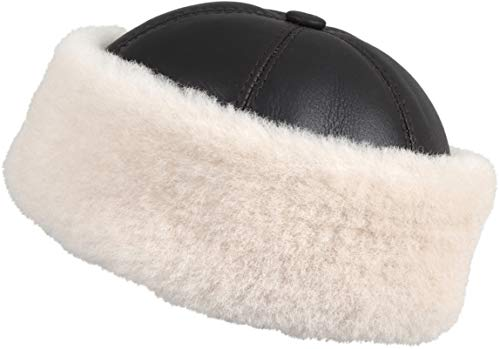 Zavelio Men's Shearling Sheepskin Winter Beanie Hat Small Brown Beige