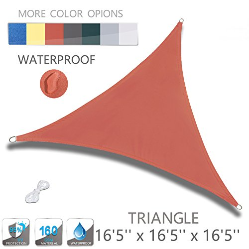 Love Story 16'5'' x 16'5'' x 16'5'' Triangle Orange Red Waterproof Sun Shade Sail Perfect for Outdoor Patio Garden