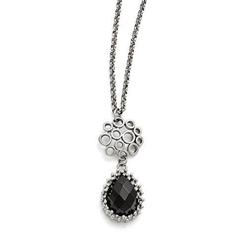 ICE CARATS Stainless Steel Black Onyx 2 Inch Extension Chain Necklace Pendant Charm Fashion Jewelry for Women Gift Set - Malachite Onyx Earrings