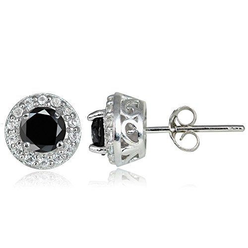 Sterling Silver Black Spinel & White Topaz 4mm Halo Stud (Black Spinel Gem)