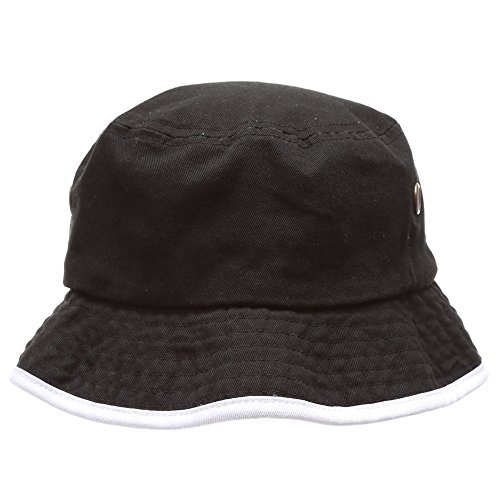 MIRMARU Summer Adventure Foldable 100% Cotton Stone-Washed Bucket hat with Trim.(Black-White-LXL) (Hat Trim Bucket)