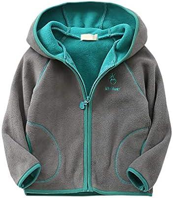 Feidoog Kids Polar Fleece Jacket Hooded Long Sleeve Coat Zip up Outerwear,Gray,2-3T