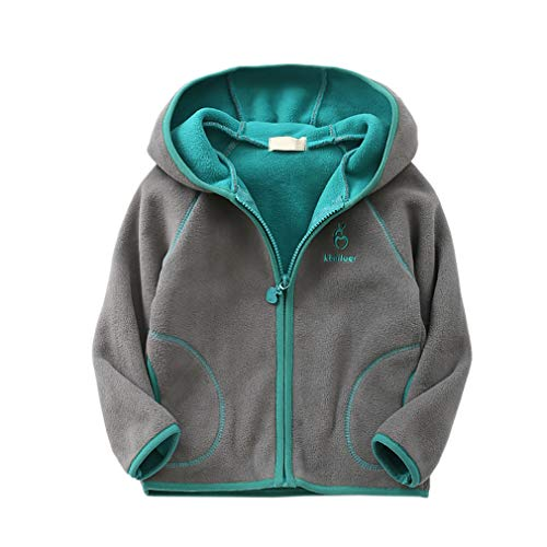 (Feidoog Kids Polar Fleece Jacket Hooded Long Sleeve Coat Zip up Outerwear, Gray,2-3T)