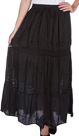 AA254 - Solid Embroidered Gypsy / Bohemian Full / Maxi / Long Cotton Skirt - Black/One Size