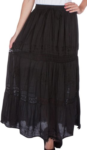 Cotton Embroidered Skirt (Sakkas 354 Solid Embroidered Lace Gypsy Bohemian Mid Length Cotton Skirt - Black / One Size)