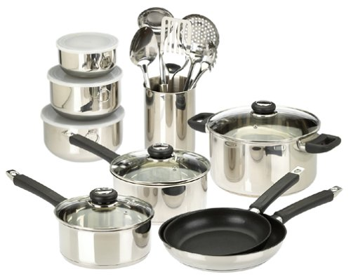- Sabatier Precision 20-Piece Stainless-Steel Cookware Set