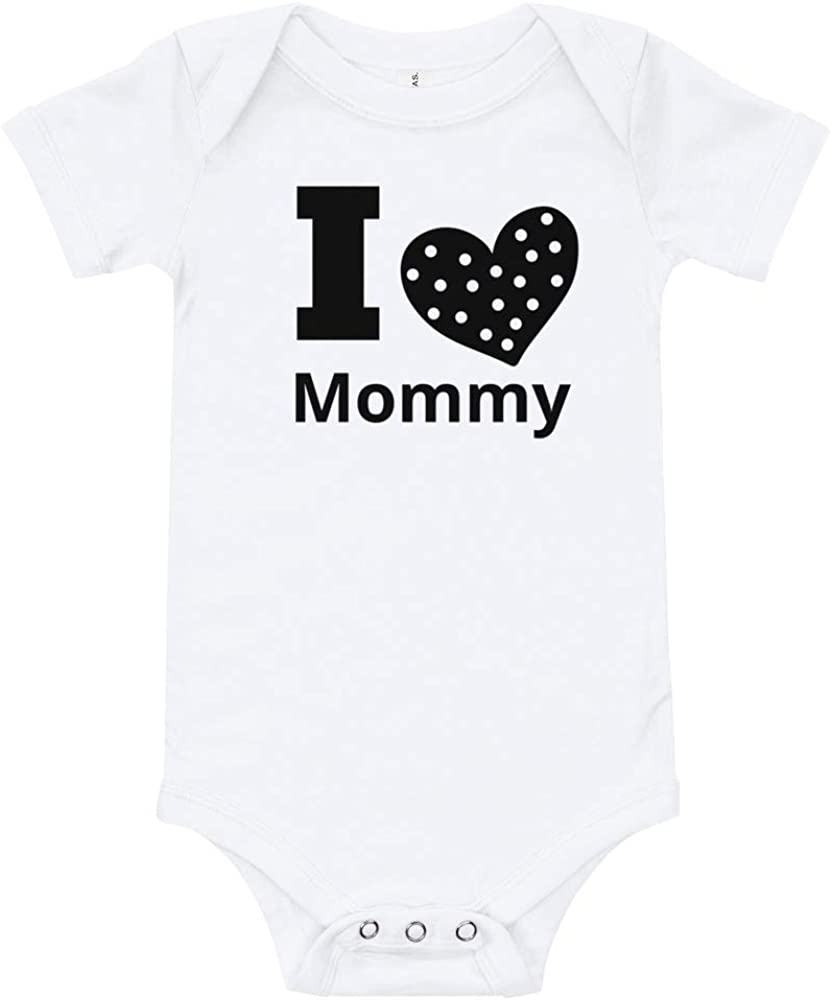 Baby Unisex Bodysuit I Love Mommy Toddler Infant Rompers with Snaps