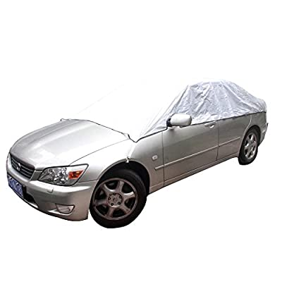 Aumo-mate Car Covers Sun Heat Protection Snow Ice Universal Waterproof Half Car Auto Cover Dustproof Anti UV Scratch Resistant Styling