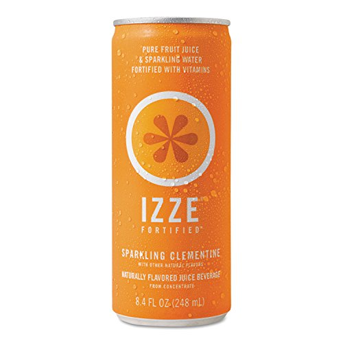 IZZE 15054 Fortified Sparkling Juice, Clementine, 8.4 oz Can, 24/Carton