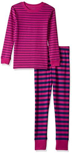 Amazon Essentials Big Girl's Long-Sleeve Tight-Fit 2-Piece Pajama Set Sleepwear, Fuschia/Navy Stripe, XL (12)