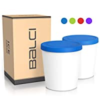 BALCI - Premium Ice Cream Container (2 PACK) Perfect Freezer Storage Tubs with Lids for Ice Cream, Sorbet, Gelato, or other Foods and More! 1 Quart Each (BLUE)
