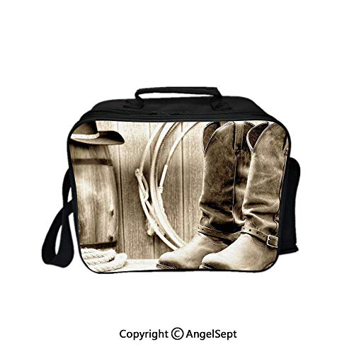 - Compartment Lunch Bag for Men, Women,Traditional Rodeo Supplies with Boots in Vintage Colors Nostalgic Wild Photo Decorative Black and White 8.3inch,Lunch Cooler Bag with Shoulder Strap