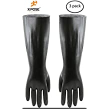 "18"" Chemical Resistant Gloves - 3 Pairs - Heavy Duty, PVC Coated, Comfort Lined - Acid, Oil and Alkali Protection - Forearm Length - by Xpose Safety"