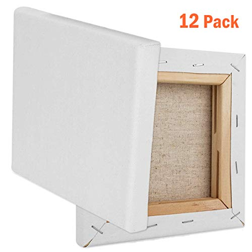 12 Pack 6 x 6 Inch Mini Canvas Panels, CBTONE 100% Small Cotton Stretched Canvas Boards for Paintings Craft Drawing Small Acrylics Canvas