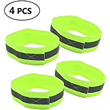 HUELE 4 pcs High Visibility Reflective Wristbands / Belt / Armbands, Reflective Ankle Strap Ankle Bands Running Gear - Perfect for Runners, Walkers, Cyclists and as Bike Pant Leg Straps