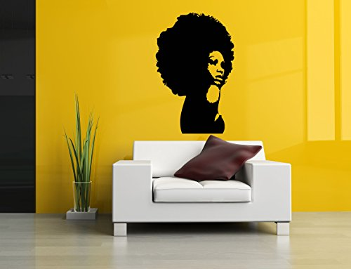 Wall Room Decor Art Vinyl Sticker Mural Decal Afro Girl Black Woman Head Poster Face AS2687 by Sticker Cloud