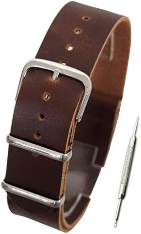 【NATO 合皮レザー 16mm ダークブラウン】NATOタイプ 時計ベルト ストラップ 腕時計 11Straps【バネ棒外しセット】
