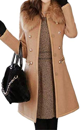 Bloomyma Women Slim Fit Double Breasted Mid Length Faux Fur Collar Wool Blend Trench Coat Jacket Outerwear Camel ()