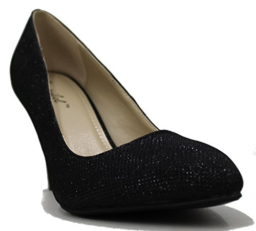 Bonnibel Mujeres Kendra Almond Toe Slip On Glitter Stiletto Vestido De Tacón Zapatos Bomba Black Glitter