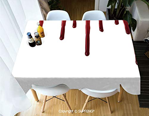 Rectangular tablecloth Flowing Blood Horror Spooky Halloween Zombie Crime Scary Help me Themed Illustration (60 X 120 inch) Great for Buffet Table, Parties, Holiday Dinner, Wedding & More.Desktop -