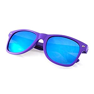 Emblem Eyewear - Premium Horn Rimmed Style Sunglasses (Mirrored Lens | Purple, 0)