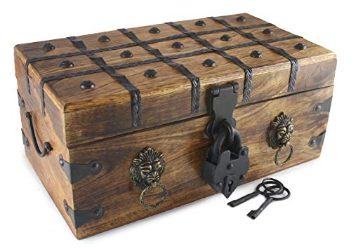 "Well Pack Box Lion Heart Pirate Treasure Chest 14""x 8""x 6"" with Heart Iron Lock Skeleton Key Decorative Box (Large)"