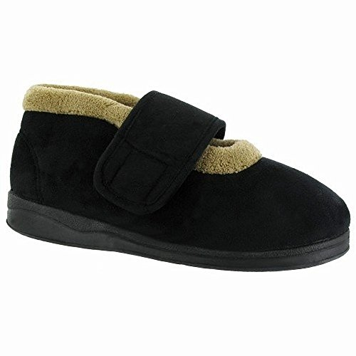 Touch Womens Jeane Slipper Fastening Black Mirak Ladies Slippers Bootee v5Uq7wfx