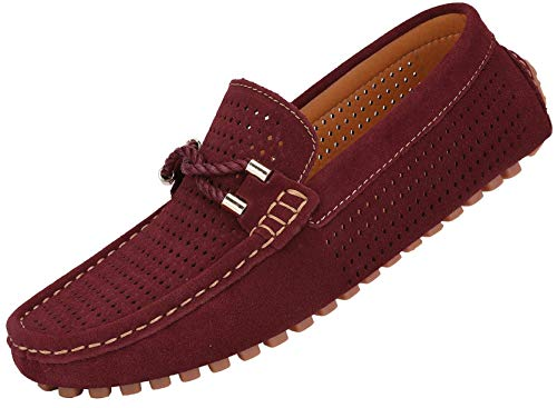JIONS Mens Loafers & Slip On Driving Suede Moccasins Casual Dress Low-top Shoes A- Wine Red 9.5 D(M) US/CN 43