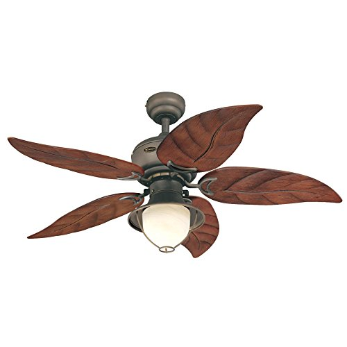 Westinghouse 7861920 Oasis Single-Light 48-Inch Five-Blade Indoor/Outdoor Ceiling Fan, Oil Rubbed Bronze with Yellow Alabaster Glass ()