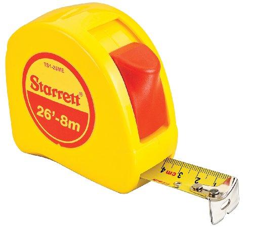 Starrett KTS1-26ME-N ABS Plastic Case Yellow Measuring Pocket Tape, English/Metric Graduation Style, 26' (8m) Length, 1