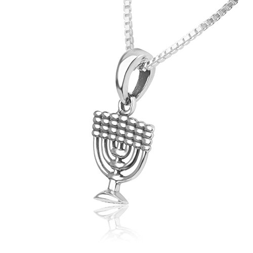 Marina Jewellery Genuine 925 Sterling Silver Chain Necklace with Menorah Pendant Charm, 18 inch Box Chain