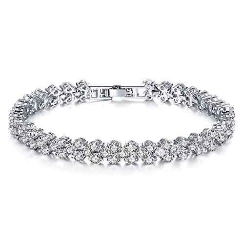 Cyntan Elegant Silver Rhinestone Stretch Bracelet For Women Girls Wedding Bridal Bracelet - Large Stretch Bracelet Rhinestone