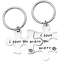 Melix Home I love you more I love you most Couples Keychains / Couples Necklaces Set, Perfect Gift For Your Boyfriend