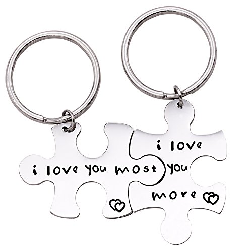 Melix Home I love you more I love you most Couples Keychains, Perfect Gift For Your Boyfriend (Keyring-Set)