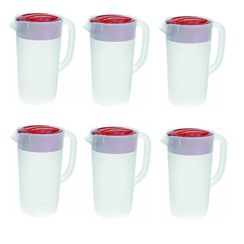 Cover Pitcher - Rubbermaid 30621-4 712395881415 Pitcher 2.25 Qt-White with Red Cover Pack of 6, 6 Pack