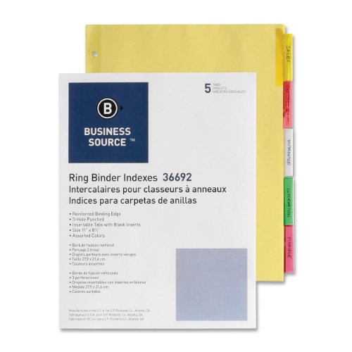 Bus. Source Insertable Tab Ring Binder Indexes