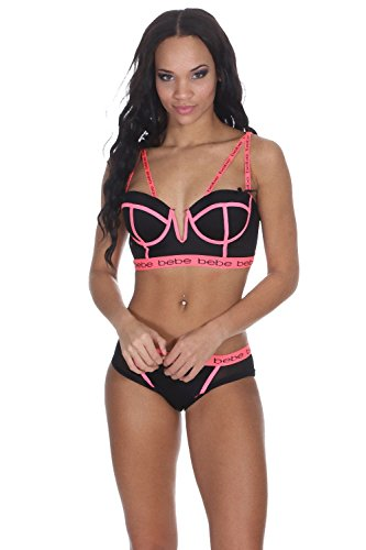 bebe-intimates-womens-longline-bra-with-piping-and-matching-bikini-panty-set-mango-medium