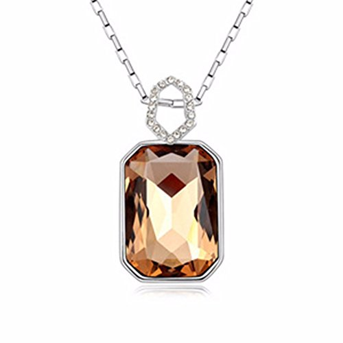 JIN Crystal real gold plated clavicle chain pendants, Coffee Drill Pendant Necklace For Womens
