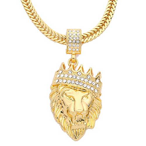 Botrong Mens Full Iced Out Rhinestone Lion Tag Pendant Cuban Chain Hip Hop Necklace (Gold) (Memorial Coin Gold)