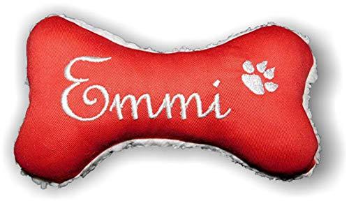 Hunde Spielzeug Kissen Knochen Hundeknochen Quitscher ROT Größe XXS XS S M L XL oder XXL mit Name Wunschname Hundekissen